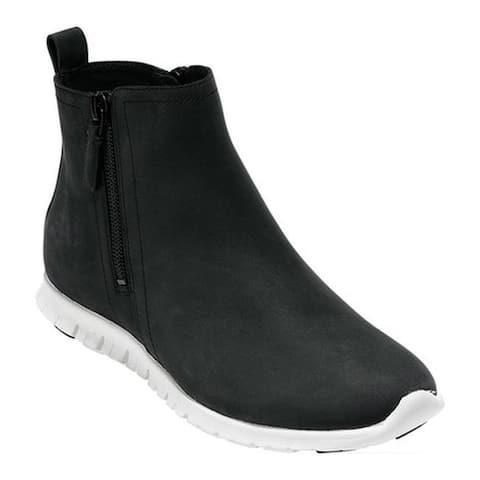 Cole Haan Women's Zerogrand Side Zip Waterproof Bootie Black Nubuck/Optic White