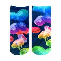 Jellyfish Photo Print Ankle Socks - Blue