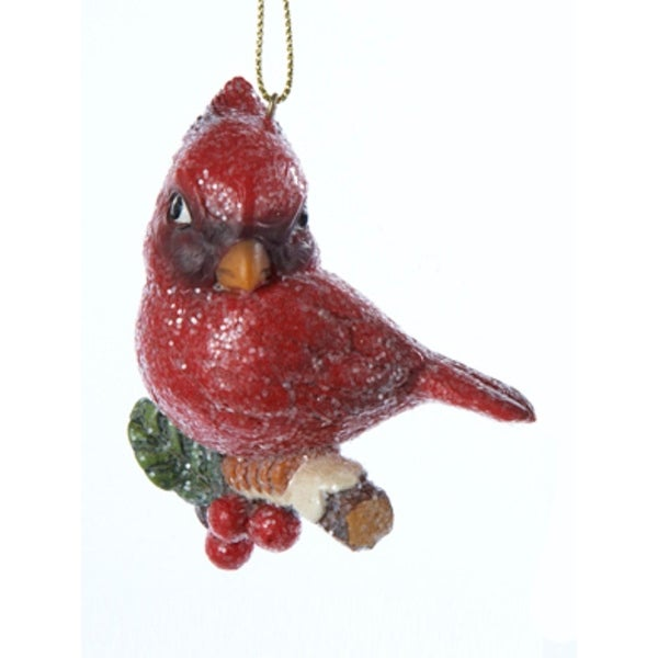 """3"""" In the Birches Vintage-Style Cardinal with Holly Berries Christmas Ornament - RED"""