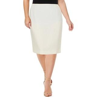Tahari ASL Womens Plus Pencil Skirt Textured Solid - 18W