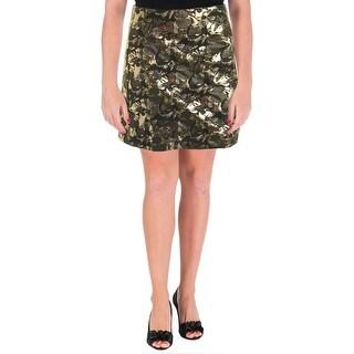Aqua Womens Metallic Brocade A-Line Skirt