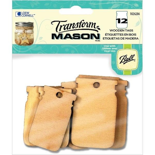 Transform Mason Wooden Tags-Mason Jar Shapes 12/Pkg