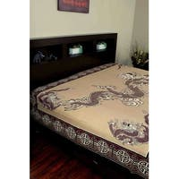 Handmade Cotton Asian Dragon Tapestry Tablecloth Coverlet Bedspread Twin 70x106 & Full 88x106 Inches