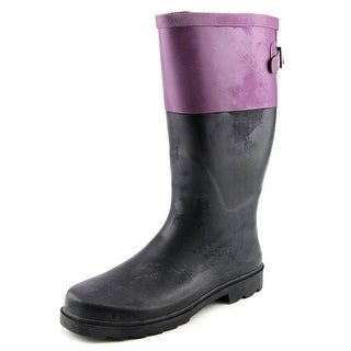 Chooka Color Block Back Gusset Women Round Toe Synthetic Black Rain Boot