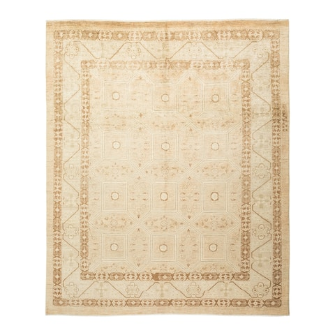 "Eclectic, One-of-a-Kind Hand-Knotted Area Rug - Ivory, 7' 9"" x 9' 4"" - 7' 9"" x 9' 4"""