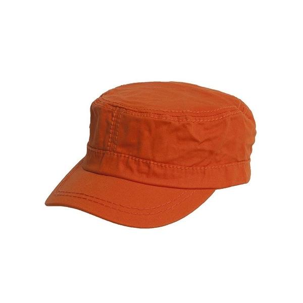 Women's Washed Military Cadet Style Cap - Orange