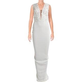 Nicole Bakti Womens Evening Dress Flower Applique Jeweled
