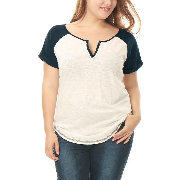 Allegra K Women's Plus Size Split Neck Contrast Color Tunic Tee
