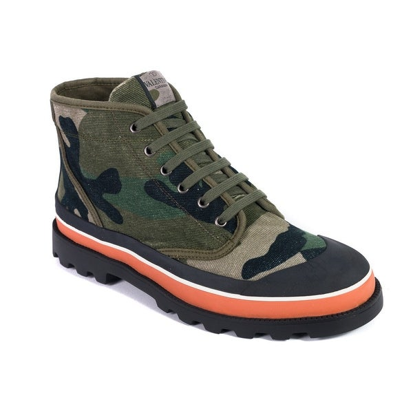 358e812b88e Shop Valentino Men's Green Camouflage Canvas Desert Boots - Free Shipping  Today - Overstock - 19295486