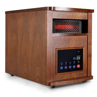 Costway 1500w Pro 6 Element Infrared Quartz Heater Large Room W/wood Cabinet and Remote