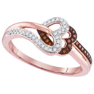 10kt Rose Gold Womens Round Red Colored Diamond Heart Love Fashion Ring 1/7 Cttw - White
