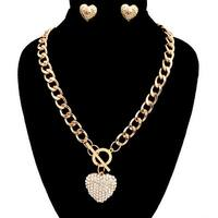 Heart Toggle Necklace Set for Valentines