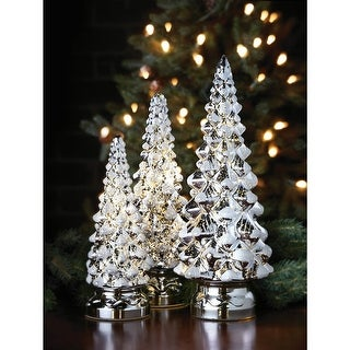 Mr. Christmas Twinkling Trees, 10-Inch, 12-Inch and 14-Inch, Silver, Set of 3 - 16 in. x 14 in. x 8 in.
