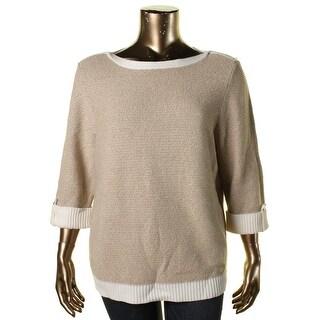 Karen Scott Womens Plus Metallic Contrast Trim Pullover Sweater - 2X