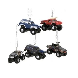 Set of 5 Monster Jam 3-Dimensional Mini Truck Christmas Ornaments
