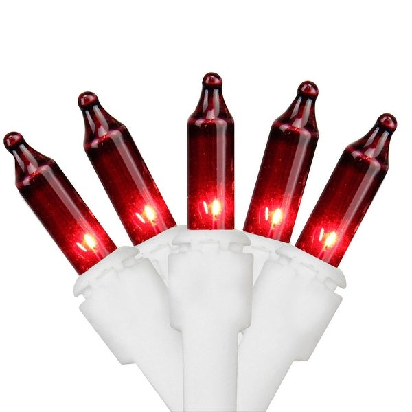 """Set of 100 Red Mini Christmas Lights 2.5"""" Bulb Spacing 22 AWG - White Wire"""