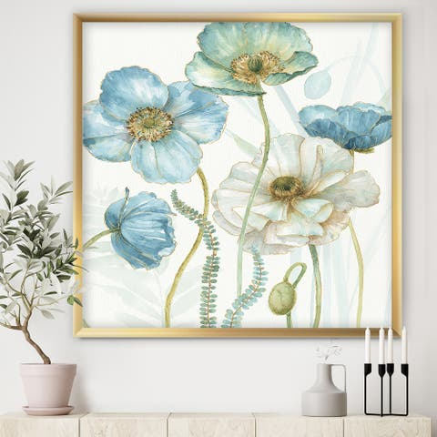 Designart 'Blue Cottage Flowers Drawing II' Farmhouse Framed Art Print