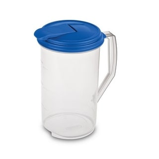 Sterilite 04864106 Round Pitcher, Clear With Blue Lid, 2 Quarts