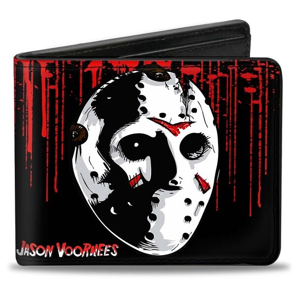Jason Voorhees Jason Mask4 + Friday The 13Th Blood Splatter Black Red White Bi-Fold Wallet - One Size Fits most