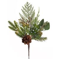 """Club Pack of 12 Green and Brown Artificial Mixed Pine and Cones Christmas Pick Sprays 16"""""""