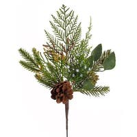 Club Pack of 12 Green and Brown Artificial Mixed Pine and Cones Christmas Pick Sprays 16""