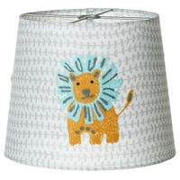 Set of 4 Gray and Yellow Decorative Embroidered Lion Lamp Shade 10""