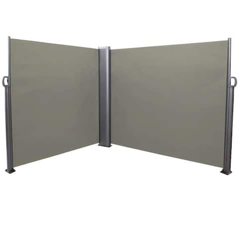 Sunnydaze Corner Patio Retractable Privacy Wall Side Awning - 10 x 6 Feet Grey