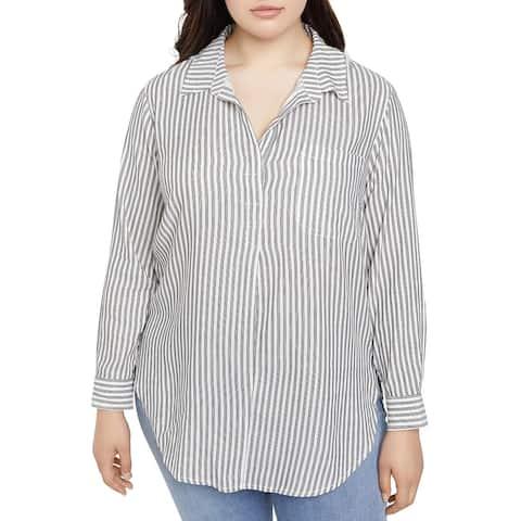 Sanctuary Womens Plus Miles Tunic Top Striped Collared - Timeless Stripe - 2X
