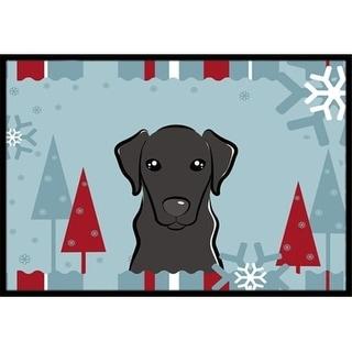 Carolines Treasures BB1731MAT Winter Holiday Black Labrador Indoor & Outdoor Mat 18 x 27 in.