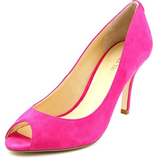 Ivanka Trump Cleo 5 Women Peep-Toe Suede Pink Heels