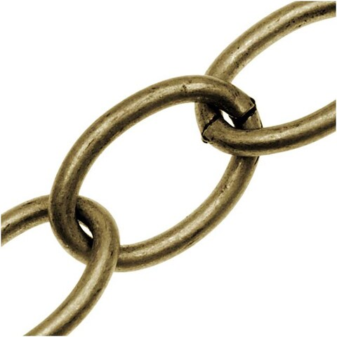 Antiqued Brass Heavy Cable Chain 10x15mm - Bulk By The Foot