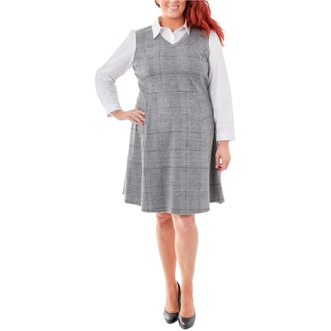 NY Collection Womens Layered Look Fit & Flare Dress, Grey, 1X