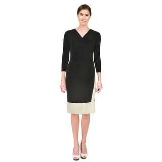 Teri Jon Contrast 3/4 Sleeve Faux Wrap Jersey Cocktail Dress - 8