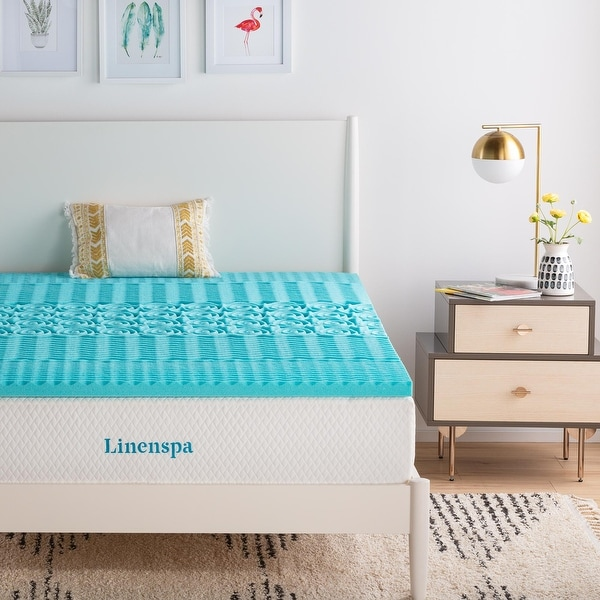 Linenspa Essentials Zoned Gel Memory Foam Mattress Topper - Blue