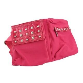Chrome Studded waist Pack Waist Bag Mock Croc Trim