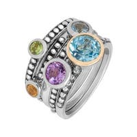 2 1/2 ct Multi-Stone Stackable Rings in Sterling Silver and 14K Gold - Multi-Color