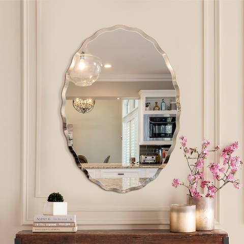 Porch & Den Outlook Beveled Oval Venetian Frameless Wall Mirror