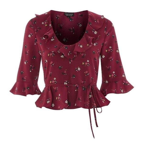 faffd082dd6201 Shop TopShop Purple Womens Size 4 Tie-Front Ruffle Floral Print ...