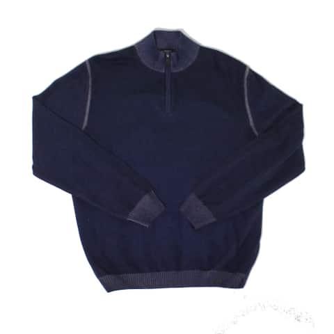 Scott Barber Mens Sweater Deep Blue Size Large L 1/2 Zip Mock Neck