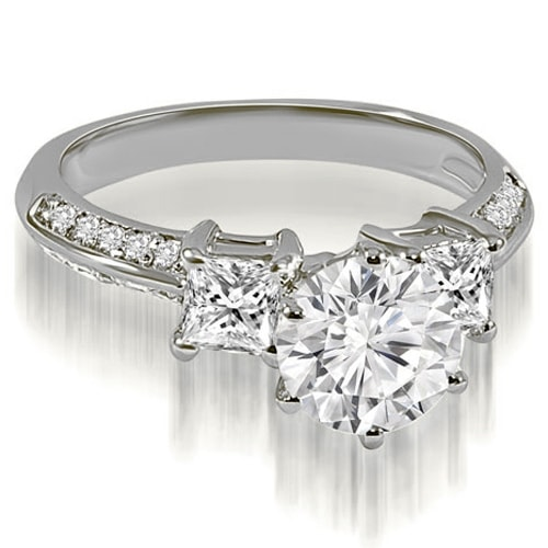 1.45 cttw. 14K White Gold Round and Princess cut Diamond Engagement Ring