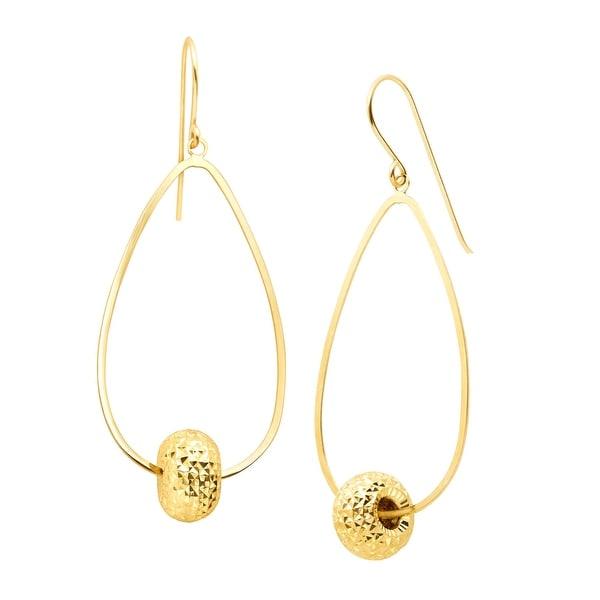 Eternity Gold Textured Bead Drop Earrings in 10K Gold - YELLOW