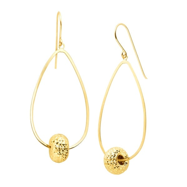 Just Gold Textured Bead Drop Earrings in 10K Gold - YELLOW