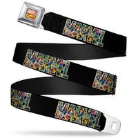 Marvel Comics Marvel Comics Logo Full Color Marvel Retro Comics Black Seatbelt Belt