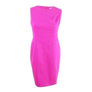 Calvin Klein Women's Compression Starburst Sheath Dress - shocking pink