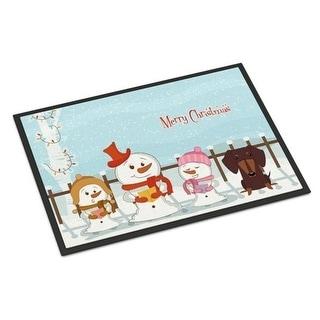 Carolines Treasures BB2462MAT Merry Christmas Carolers Dachshund Chocolate Indoor or Outdoor Mat 18 x 0.25 x 27 in.