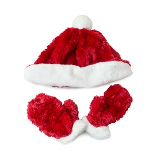 Fuzzy Wear Santa Hat & Mitten Set, Red, 12-18 Months