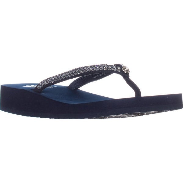 Yellow Box Jello Low Heel Wedge Flip Flops, Navy