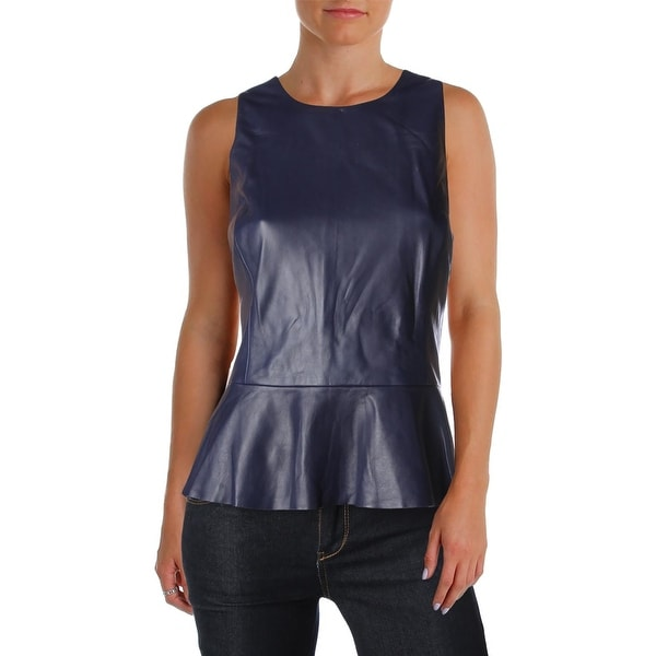 Lauren Ralph Lauren Womens Peplum Top Leather Sleeveless
