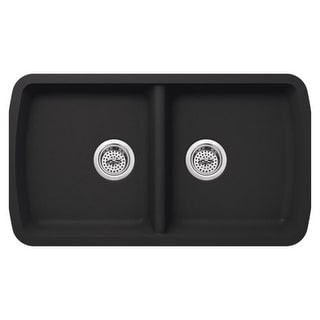 "Miseno MGR34195050 Carolina 33"" Double Basin Undermount Granite Composite Kitchen Sink with 50/50 Split - Basket Strainer"