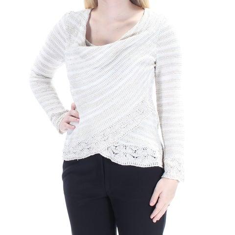 INC $80 Womens New 1683 Beige Lace Long Sleeve Faux Wrap Sweater S B+B